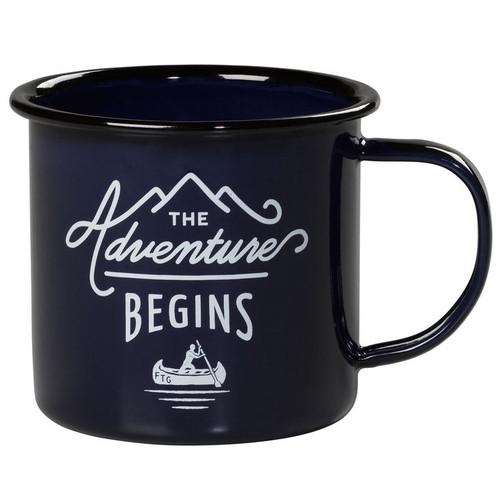 Wild & Wolf ''The Adventure Begins'' Blue Enamel Mug