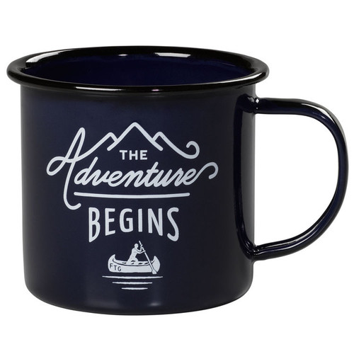 Wild & Wolf ''The Adventure Begins'' Blue Enamel Mug