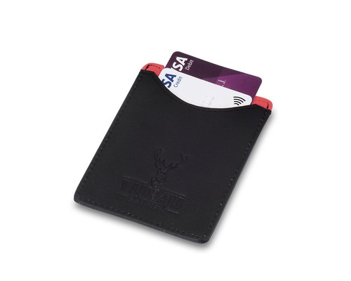 Woodland Leathers RFID Black & Red Card Wallet