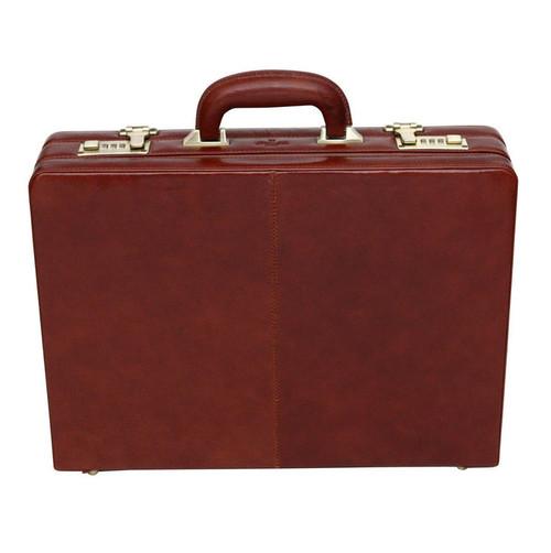 S Babila Executive Leather Attache Cognac Briefcase