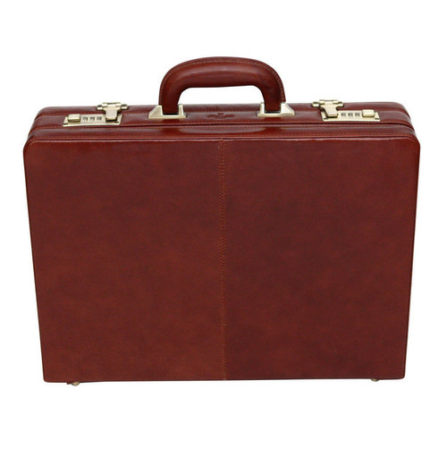 S Babila Executive Leather Attache Cognac Briefcase