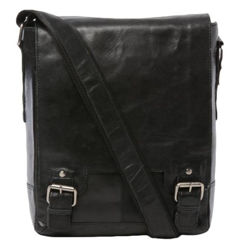 Ashwood Kingston Black Luggage Leather iPad Messenger Bag