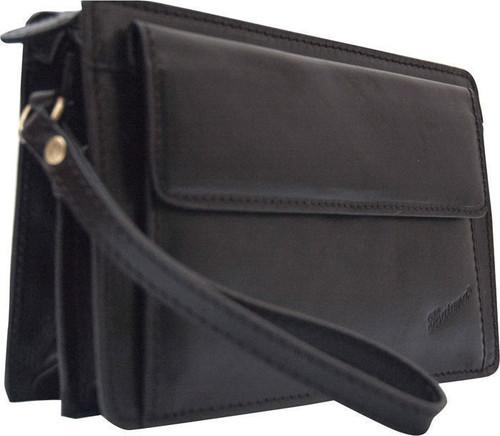 Katana Black Leather Flap Wrist Clutch Bag
