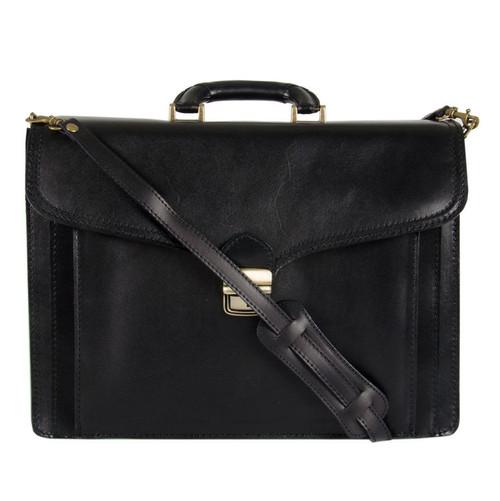 Delamore Leather Black Briefcase