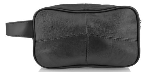 Woodland Leathers Stitch Soft Black Leather Wash Bag