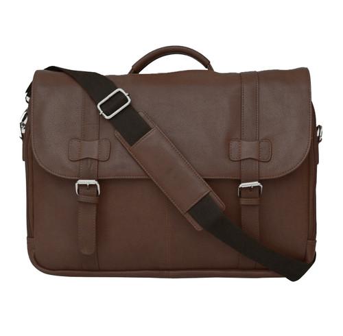 Felda Firenze Brown Leather RFID Flap Over Briefcase