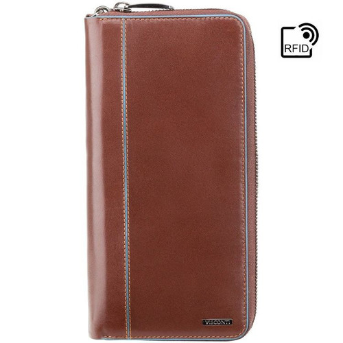Visconti Alfred Italian RFID Brown Leather Travel Wallet