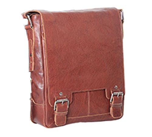 Ashwood Kingston Tan Luggage Leather iPad Messenger Bag