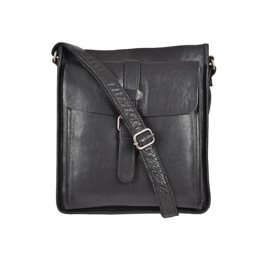 Ashwood Stratford A4 Black Leather Messenger Bag