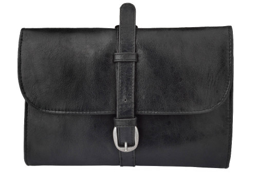 Woodland Leathers Black Buckle Wash Bag