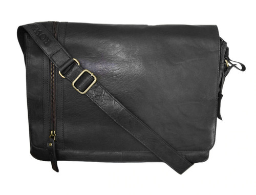 Rowallan Conquest Large Black Leather Messenger Bag
