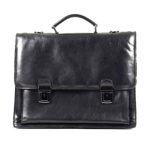 Delamore Executive Leather Black Business Briefcase