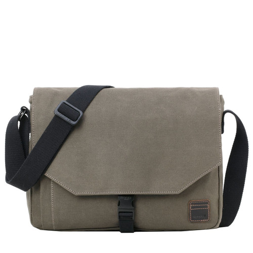Troop London Canvas Laptop Messenger Bag Olive