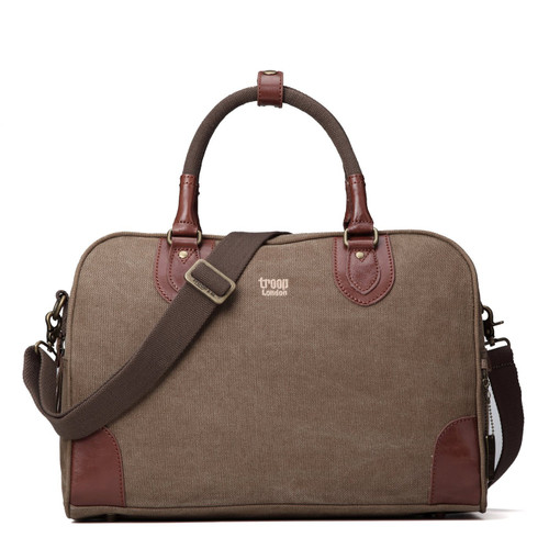 Troop London Small Brown Classic Canvas Holdall