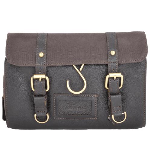 Ashwood Brown Leather Fold Out Wash Bag Brown