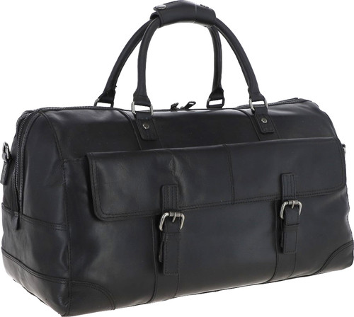 Austen & Co Black Leather Holdall Travel Bag
