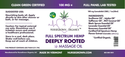 100mg Deeply Rooted-Full Spectrum Hemp Flower Massage & Body Oil -Aromatherapyy