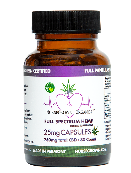 750mg Full Spectrum Hemp Flower Capsules, #30 capsules (25mg per capsule)