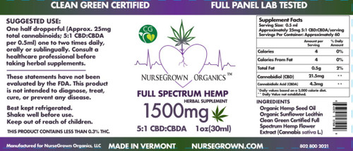 1500mg 5:1 CBD:CBDA: Clean Green Certified full spectrum hemp flower extract in organic hemp seed oil with organic sunflower lecithin.