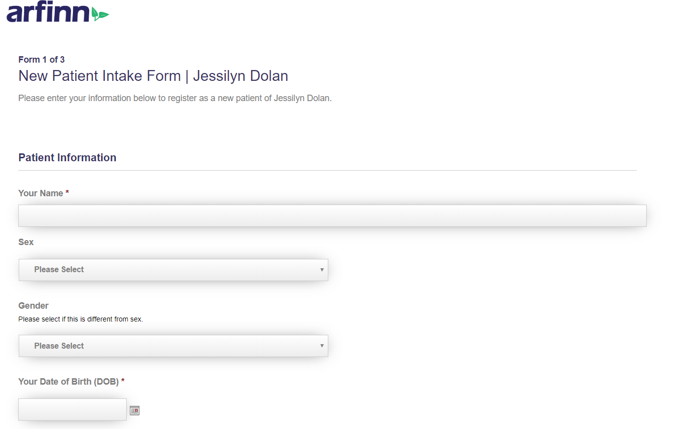 screenshot of Jessilyn Dolan online intake form