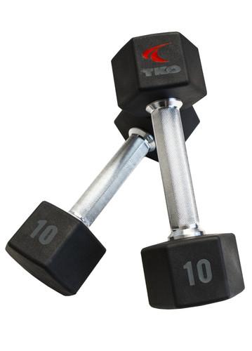 TKO 5-50 lb. Tri-Grip Urethane Hex Dumbbell Set