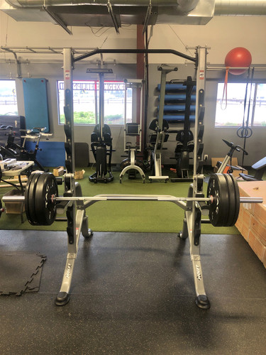 Hoist Squat Rack Package w/ Olympic Bar + Bumper Plates