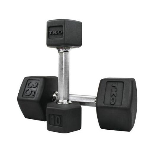 TKO 5-50 lb. Tri-Grip Rubber Hex Dumbbell Set