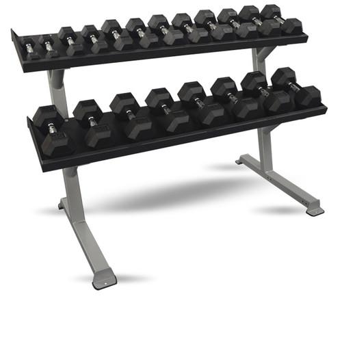 Inflight Fitness 2-Tier Dumbbell Rack w/ 10-Pair Hex Dumbbells (5-50 lb)