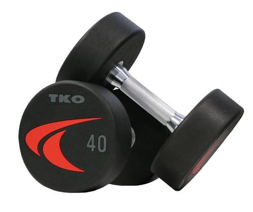 TKO 5-50 lb. Signature Urethane Dumbbell Set W/ 2-TIER RACK