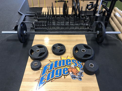 TAG Fitness Urethane Olympic Plates and Olympic Bar 300 lb. Set- (LOCAL PICKUP ONLY)