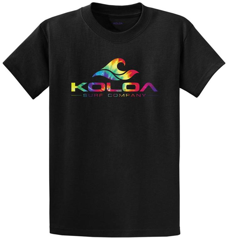 Koloa Surf Co. Rainbow Wave Logo Black T-Shirts in Regluar, Big & Tall