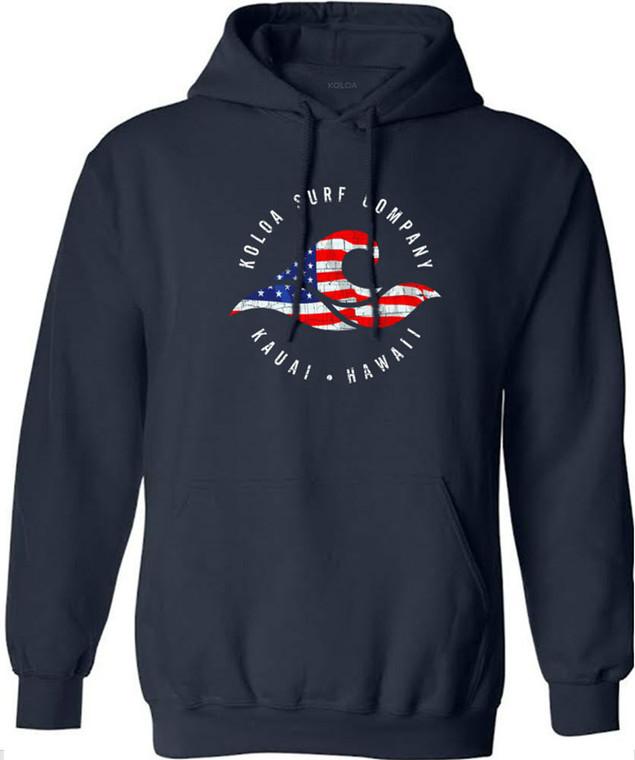 Koloa Vintage USA Flag Wave Hoodie