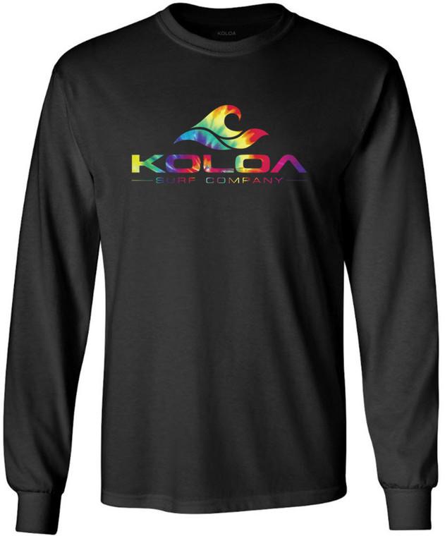 Koloa Surf Rainbow Wave Logo Black Heavyweight Cotton Long Sleeve T-Shirt