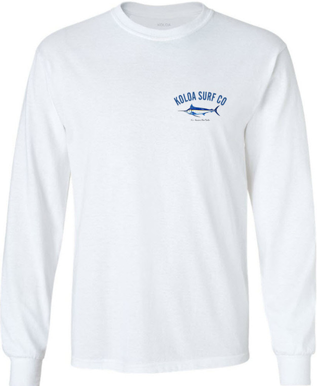 Koloa Surf Blue Marlin Long Sleeve White Cotton T-Shirt. Regular, Big & Tall
