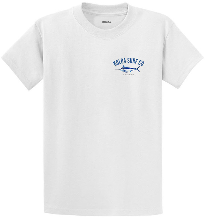Koloa Surf Blue Marlin White Cotton T-Shirt. Regular, Big & Tall