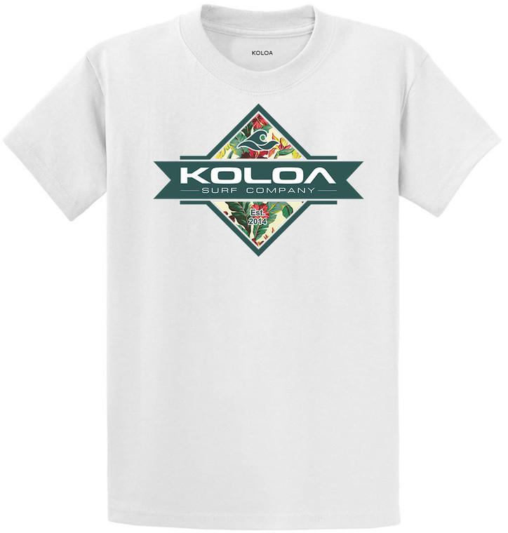 Koloa Diamond Flowers Youth T-Shirt- White
