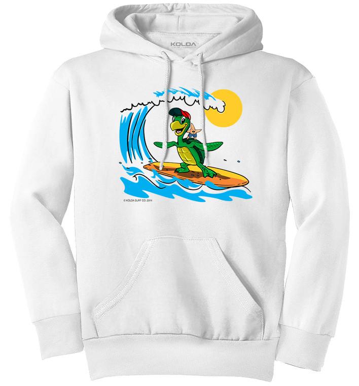 Koloa Surfing Turtle Youth Hoodie- White