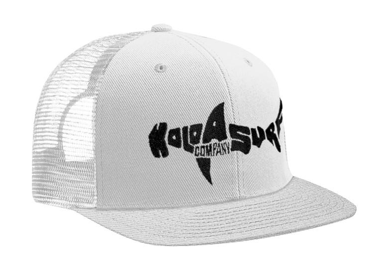 Koloa Shark Logo Mesh Back Trucker Hat- White/ Black