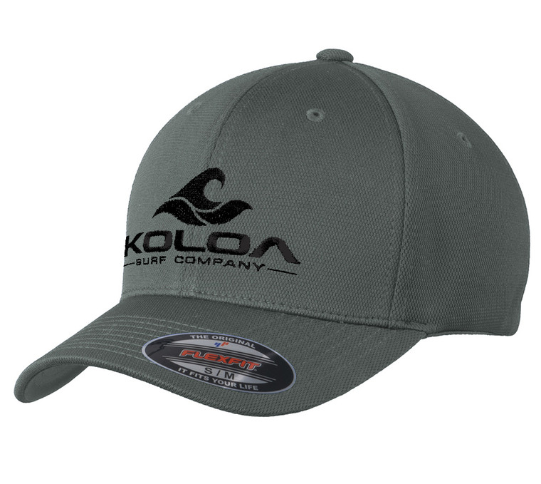 Koloa Surf Embroidered Classic Wave Flexfit Cool & Dry Poly Block Mesh Cap- Magnet Grey / Black Embroidered Classic Wave Logo