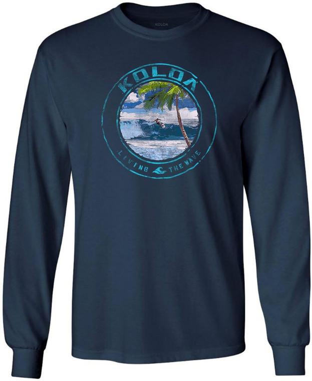Koloa Watercolor Surfer Long Sleeve T-Shirt- Navy