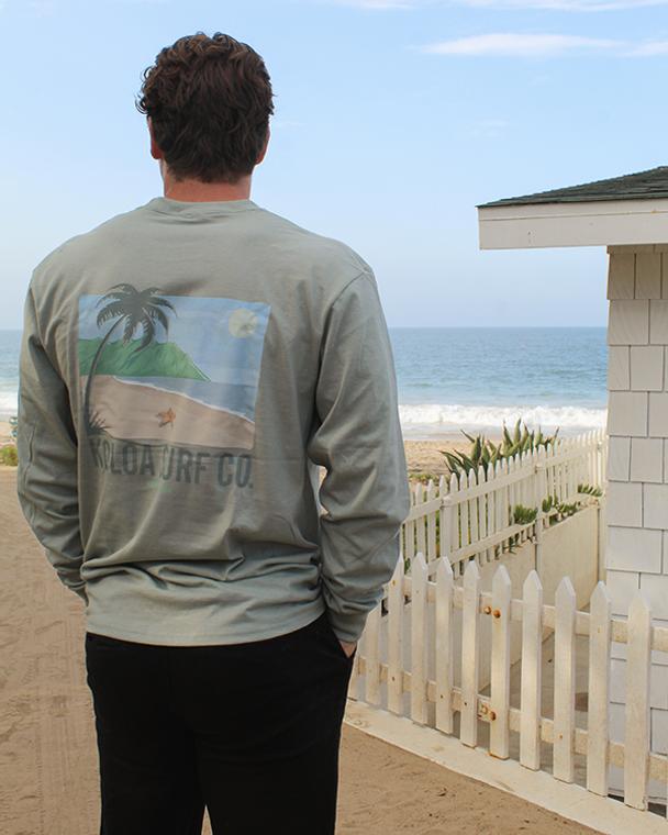 Koloa Starfish Long Sleeve T-Shirt- Stonewashed Green