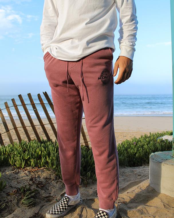 Koloa Ring Fleece Sweatpants- Pigment Maroon