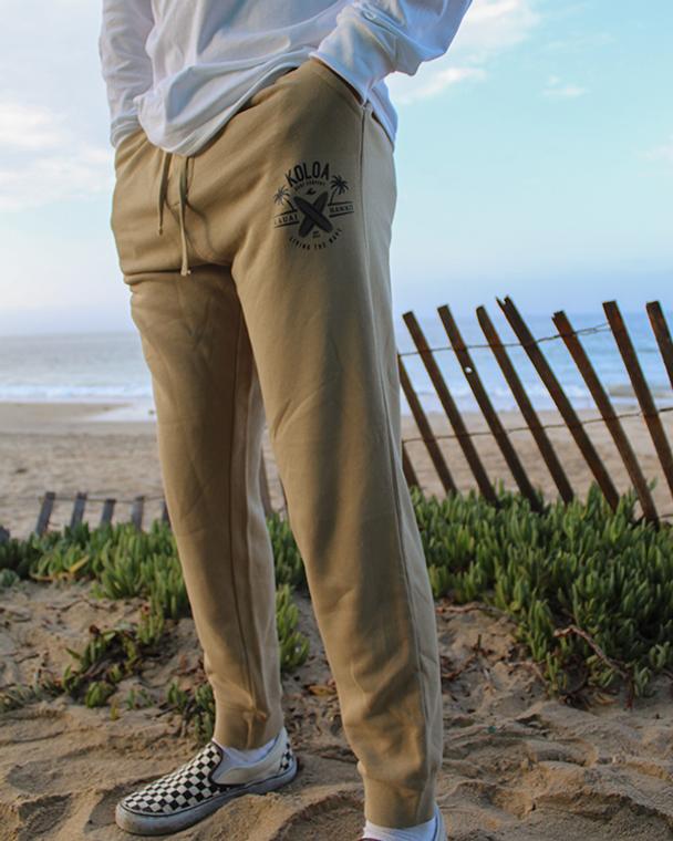 Koloa Kauai Surfboards Fleece Sweatpants- Pigment Sandstone