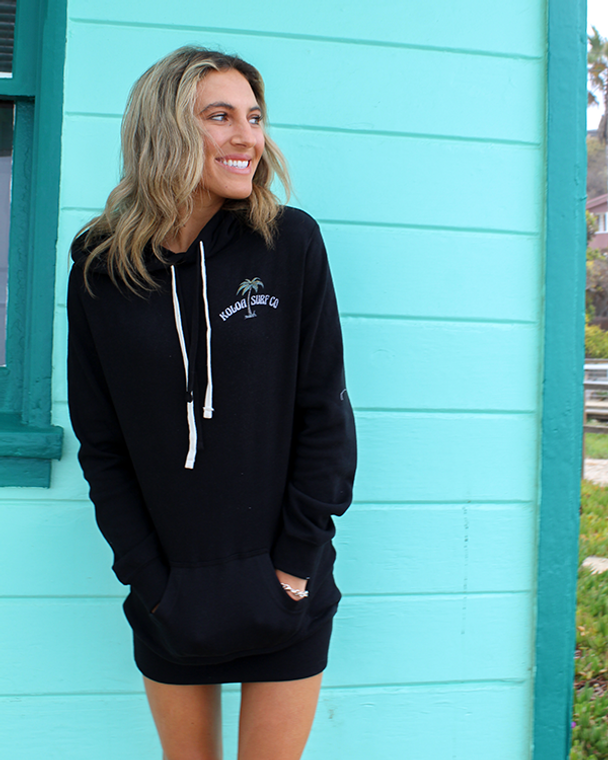 Koloa Palm Hooded Sweatshirt Dress- Black