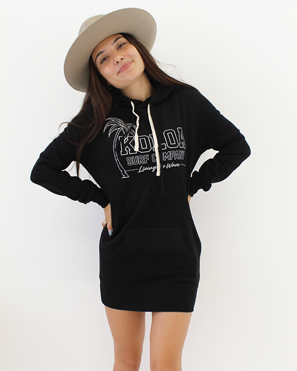 Koloa Breezy Hooded Sweatshirt Dress- Black