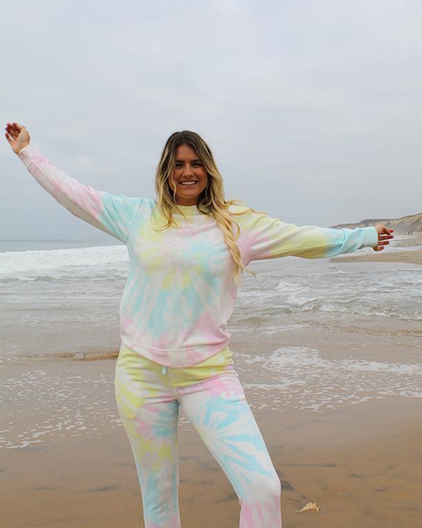 Koloa Honu Turtle Tie-Dyed Fleece Pants- Tie Dye Sunset Swirl