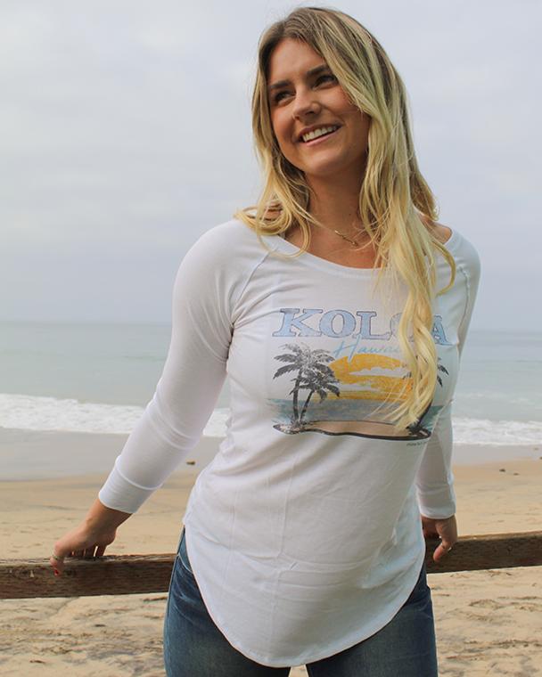 Koloa Horizon Women's Long Sleeve T-Shirt- White