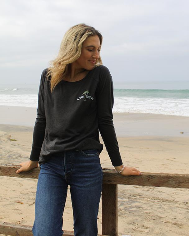 Koloa Beach Vibe Women's Long Sleeve T-Shirt- Black Frost