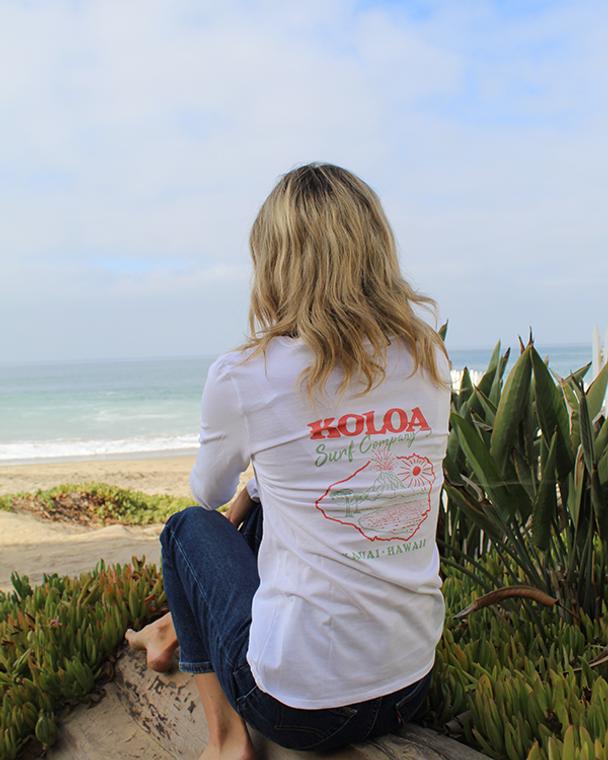 Koloa Kauai Island Women's Long Sleeve T-Shirt- White