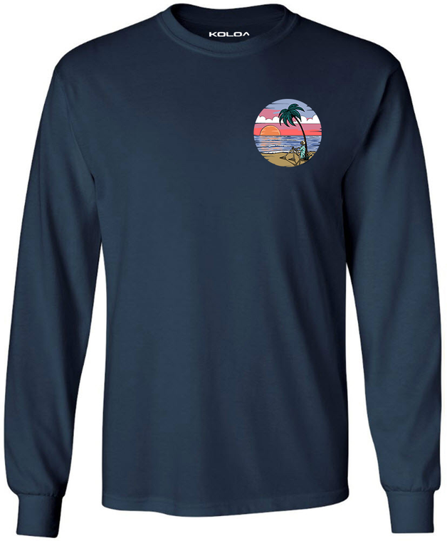 Koloa Skeleton Palm Long Sleeve T-Shirt- Navy